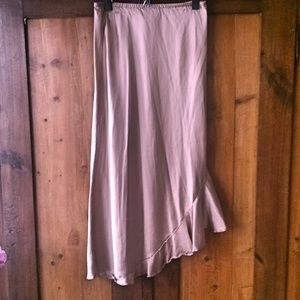 Silk Satin Assymmetrical Ruffle Hem Skirt